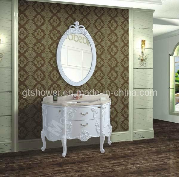Cabinet de salle de bains en bois antique blanc gd98303 for Cabinet de salle de bain