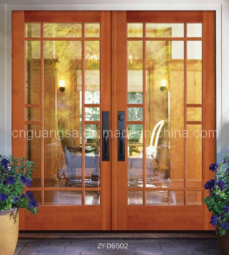 Puerta de madera interior con el vidrio puerta doble de for Puertas interiores de madera con vidrio