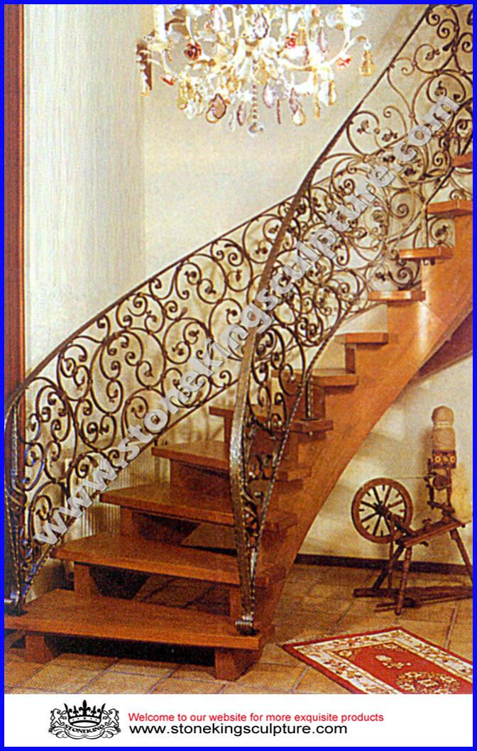 Barandilla del pasamano de la escalera del hierro labrado - Barandillas de hierro para escaleras ...