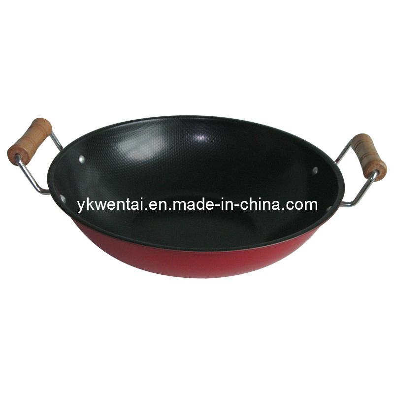 de wok niet van de stok van het koolstofstaal met dubbel houten handvat de wok niet van de. Black Bedroom Furniture Sets. Home Design Ideas