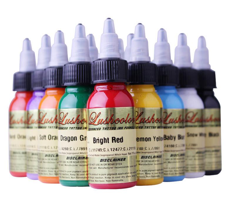 Tinta do tatuagem de lushcolor para 38 cores tinta do for Standard ink tattoo company