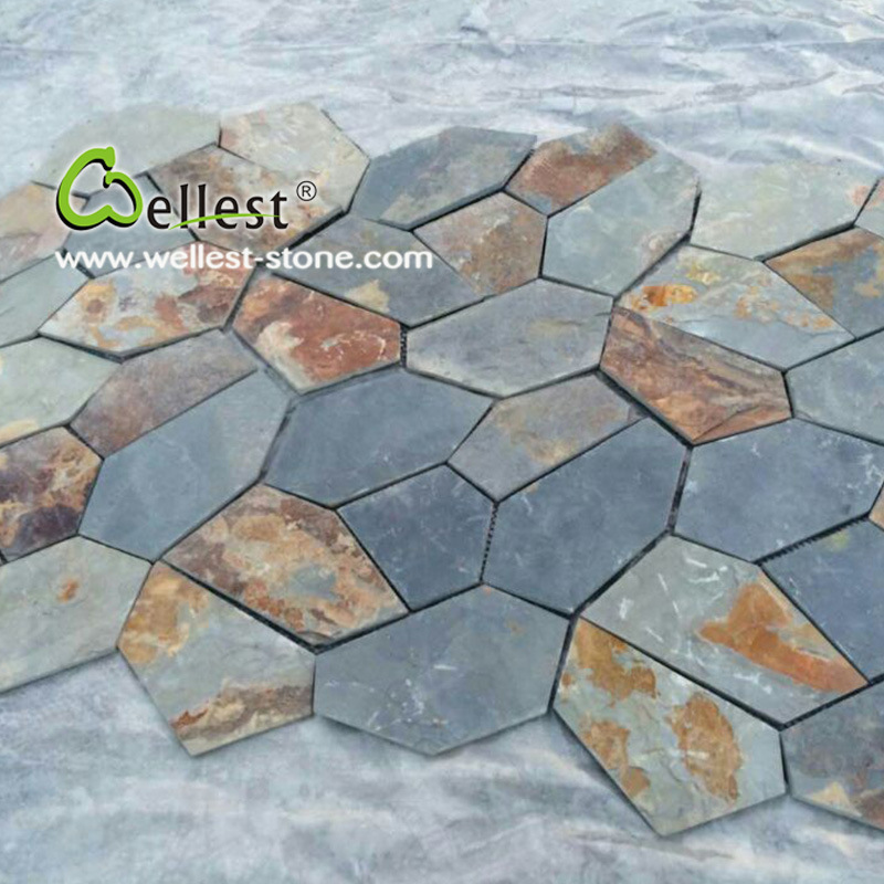 Foto de losa r stica de la pizarra del pavimento de piedra for Pavimento piedra natural