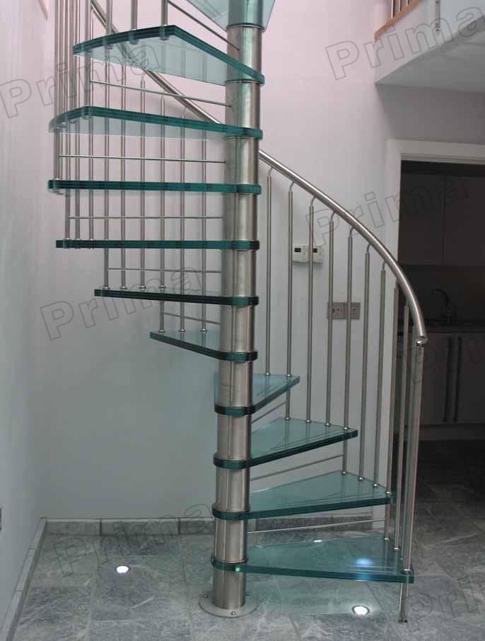 Foto de alta calidad interior escalera de caracol con barandilla de cristal templado en es made - Barandilla cristal escalera ...