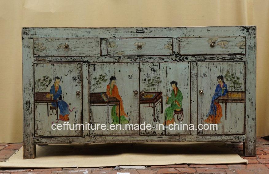 Foto de aparador pintado a mano de madera de los muebles - Muebles antiguos pintados ...