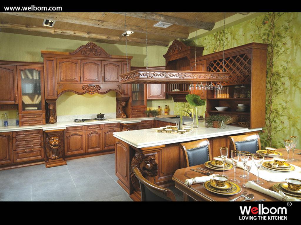 Meubles classiques de cuisine en bois plein de modèle américain d ...