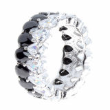 925 Silver CZ Finger Ring 2 Tone Silver Jewelry Wholesale