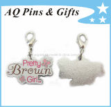 Hard Enamel Tiny Elegant Fashion Charm in Silver Plating (charm-001)