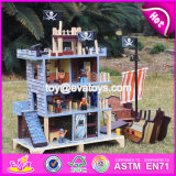 New Design Boys Pretend Play Wooden Pirate Doll House with Pirate Boat W06A162