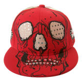 Red Snapback Baseball Cap with Applique Gj1746