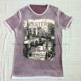 Summer Purple Faded Short Sleeve T-Shirt in Men′s Knitwear Sport Clothes Fw-8669