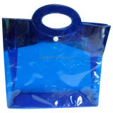 Custom Button Top Shiny Thick PVC Handle Bag for Shopping