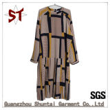 OEM Polyester Leisure Abstract Pattern Long Sleeve Lady Dress for Autumn