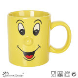 8oz Mug with Embossed Nose and Decal Design Full Glazed