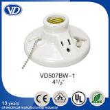 Porcelain LED Bulb Socket E27 with Chain Plug Switch