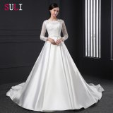 White Bridal Gown Lace Flower Pearls Wedding Dress (SL-028)