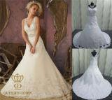 Custom Made Luxurious V- Neck See Through Back Wedding Dress
