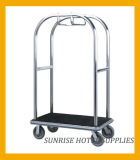 Hotel Stainless Steel Lugggage Trolley with Brushed Finish