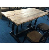 Antique Old Elm Wood Square Table Lwd542