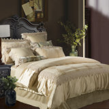 Luxury Embroidered Lace Satin Cotton Silk 4-Piece White Bedding Sets Duvet Covers Set
