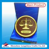 Round Wood Plaque Metal Award with Box
