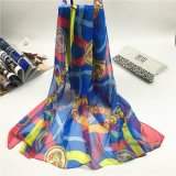 New Style 100%Polyester Faux Silk Lock Stitch Degital Print Scarves