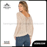 Fashion Hollow Tie Back Ribbed Sweater for Women