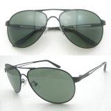 Metal Aviatorer Polarized Sunglasses with Black Frame/Green Lens