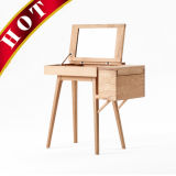 Wooden Furniture White Oak Wooden Make up Storage Dressing Vanity Table