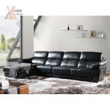 Fashion Black Leather Sofa with Corner (1651A)