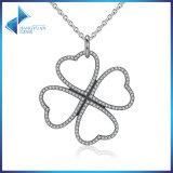 Summer New 925 Sterling Silver Petals of Love, Clear CZ Clover Necklace & Pendant for Women Chain Necklace