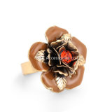 Lotus Flower Gold Plated Open Rings for Women Retro Style Lady Jewelry