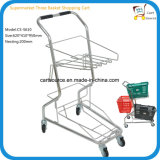 Japanese Style Supermarket Three Basket Shopping Cart, Shopping Trolley,