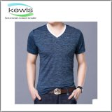 Exquisite Heming Stitching Short Sleeve Shirt with V-Neck