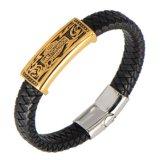 Narley Davidson Stainless Steel Leather Jewelry Bracelet