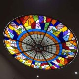 Hand Cut Gothic Architecture Stained Glass Dome with Metal Frame Base