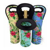 One Bottle Single Wine Neoprene Bottle Holder Sleeve Case with Printed Artwork