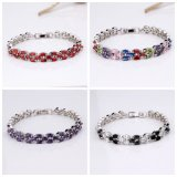 Pave Setting Colorful Stone Silver Plating Fashion Jewelry Bracelets