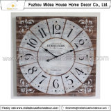 Distressed Square Wood Wall Clock Design