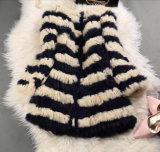 Women′s Winter Warm 100% Rabbit Fur Long Coat Contrast Color