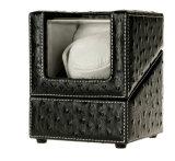 Latest Design Smart Black Ostrich Grain PU Leather Single Watch Winder