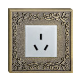 Wall Electrical Socket with Brass Faceplate