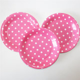 Party Paper Plate, Round Polka Pink DOT Paper Plates