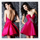 2014 Top Sale Sexy Fuchsia Strapless Crystals Ruched Backless Short Taffeta Real Pictures of Cocktail Dress