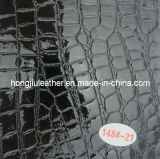 Black Crocodile Grained Leather