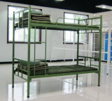 Modern Adult Round Square Pipe Heavy Duty Military Style Steel Metal Bunk Bed