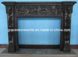 Black Marble Carving Fireplace Mantel