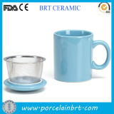 Hot Sale Turquoise Ceramic Tea Cup with Infuser Promotiom