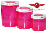 Round Transparent Plastic Canister with Lids