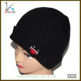 Custom Men Black Knitted Cap Slouch Long Beanie Hat Embroidered