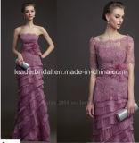 Strapless Purple Organza Lace Applique Beading Evening Dresses M40277